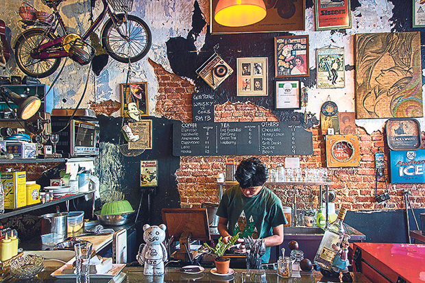 Junk Cafe is decked out with antique lanterns, musical instruments and retro paraphernalia
