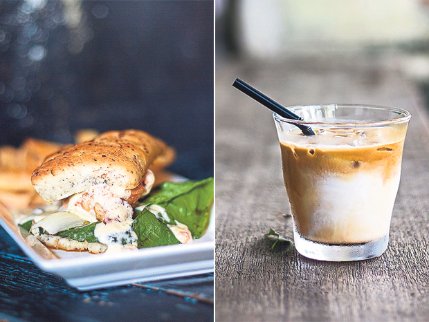Junk Cafe's Blood Cream Chicken Sandwich is given a Mediterranean boost with a judicious use of sun dried cherry tomatoes (left). Cool down with Spacebar Coffee's single origin iced latte (right)