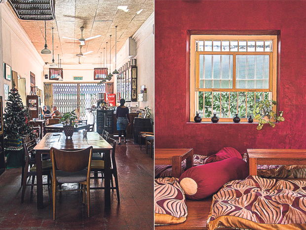 """Bistro Tang is Ren I Tang's in-house bistro (left). """"Paint the town red"""" without leaving the comforts of Bistro Tang (right)"""
