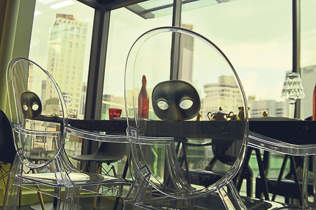 Among the Kartell Ghost chairs are these limited edition versions featuring a half mask design