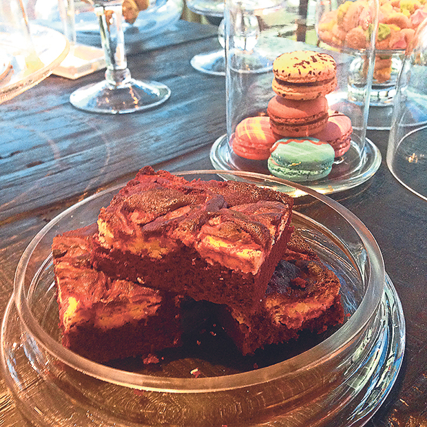 The brownie-style red velvet cheese cake is an interesting twist on the cafe staple