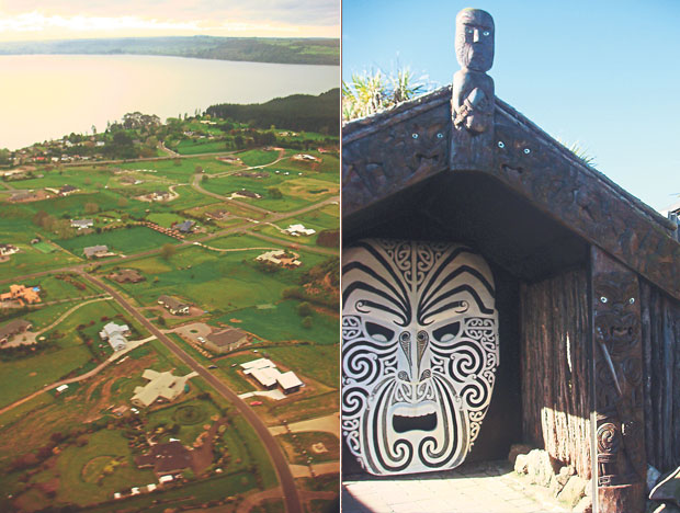 Rotorua seen from the air (left). The striking entrance to Hell's Gate, Rotorua's most active geothermal park (right)