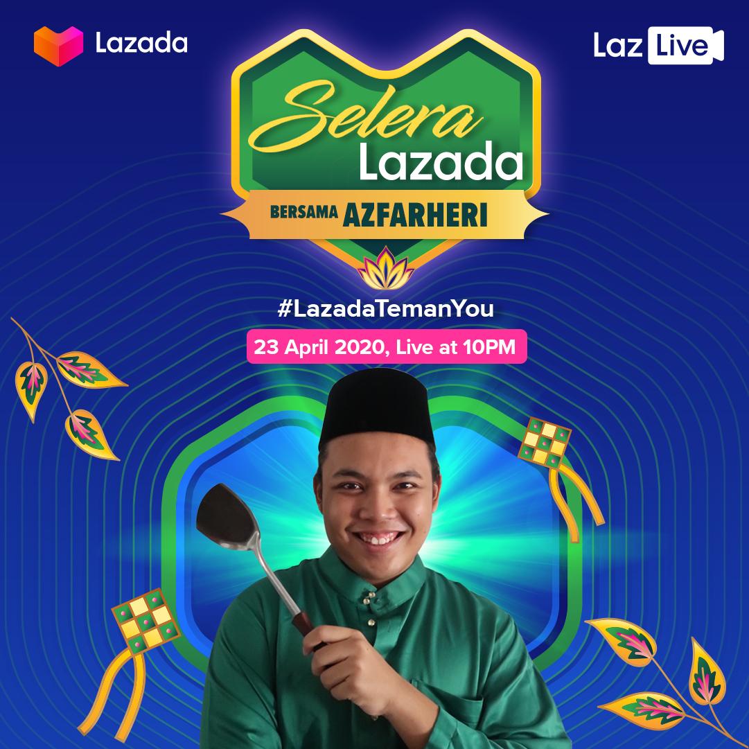 本地网络红人阿兹法亨礼(Azfarheri)负责烹饪直播节目。-Lazada提供-