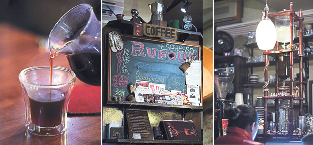 """The café's name comes from the colour """"rufous"""" which is reddish-brown or rust-like, supposedly the true colour of coffee (left). Rufous Coffee looks like a curio shop with odd paraphernalia, toys and postcards from all over the globe (center). The ice coffee tower at Rufous Coffee (right)."""
