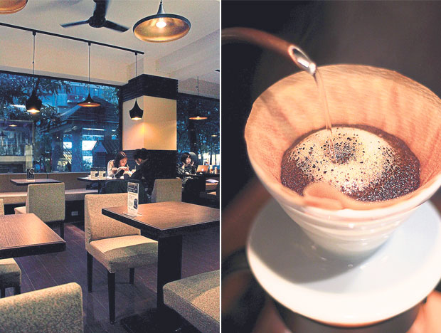 Zhanlu Coffee is a veteran in the specialty coffee scene in Taipei (left). The barista will brew your drip coffee right before your eyes at Zhanlu Coffee (right).