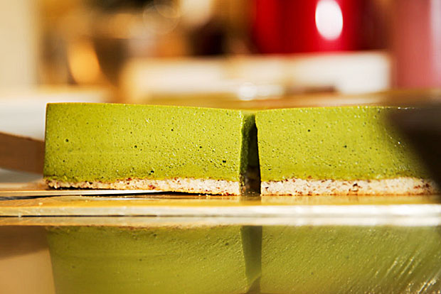 Matcha dacquoise from the Hey Romeo dessert is a contrast of textures_ creamy matcha with the slightly chewy dacquoise