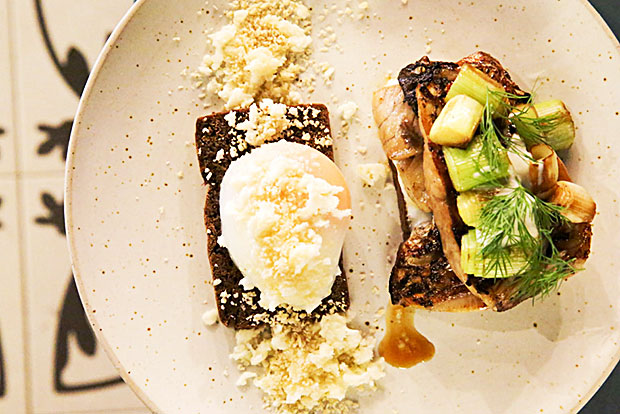 Try their Danish smorrebrod of grilled honeyed sea bass and burnt leeks on dark rye bread. It's also served with poached egg and a spinkle of feta cheese and toasted nuts