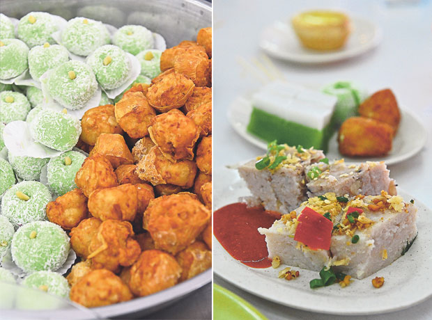 Try the mini sar kok liew (stuffed jicama) here; a rarity in the other states in Malaysia (left). Woo tau gou or yam cake with bits of dried shrimps, choy poh, red chillies and chopped scallions is a savoury snack that goes well with a bit of chilli sauce (right)