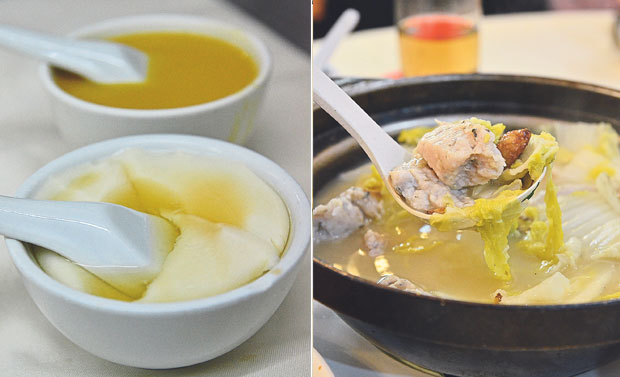 Complimentary desserts of beancurd pudding and pumpkin puree (left). Claypot Chinese cabbage with homemade fish paste in a soup flavoured with ginger slices (right)