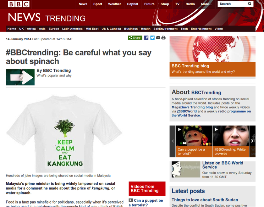 A screen capture shows the BBC page that some Malaysians complained was inaccessible.