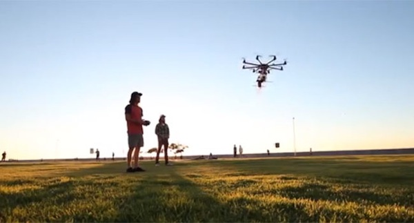 After clients place an order using a smartphone app, a drone zooms above the heads of the festival-goers to make the delivery.