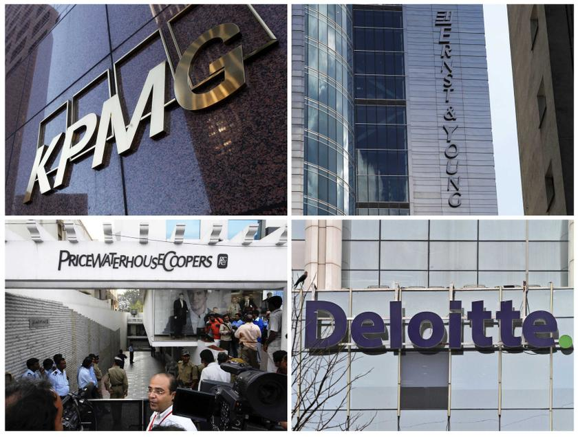 Buildings of the global 'Big Four' accounting firms (clockwise from top left) KPMG, Ernst & Young, Deloitte & Touche and PricewaterhouseCoopers are pictured in this combination photograph. — Reuters pic