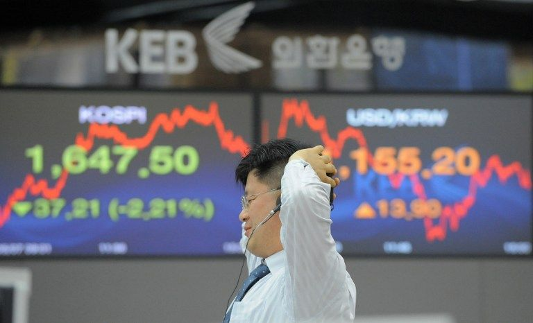 South Korean stock market dropped 0.2 per cent in a broad Asian morning retreat after Beijing's angry response to a new US law recognising Hong Kong's rights. — File pic