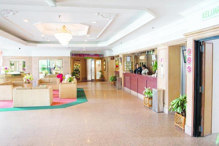 An empty hotel lobby in Brinchang.