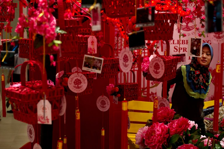 A visitor looks at Chinese decorations displayed at a shopping mall ahead of the Lunar New Year in Kuala Lumpur on January 22, 2014. —Reuters pic