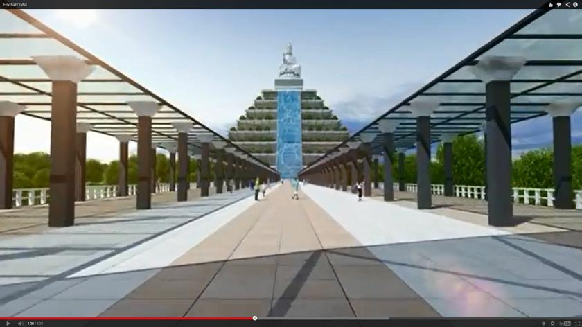 A still image from an Enchant Acres promotional video depicts a computer rendering of the project's 30-storey pyramid.