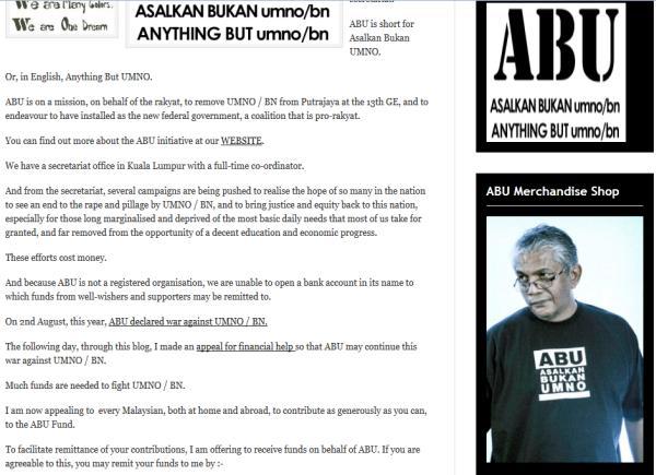 A screenshot of civil rights activist Haris Ibrahim's blog. Haris can be seen wearing an Asalkan Bukan Umno (ABU) t-shirt.