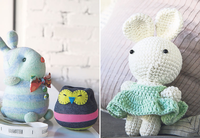 Sock dolls are a cool way to use socks for other purposes (left). This bunny is just way too cute! (right).
