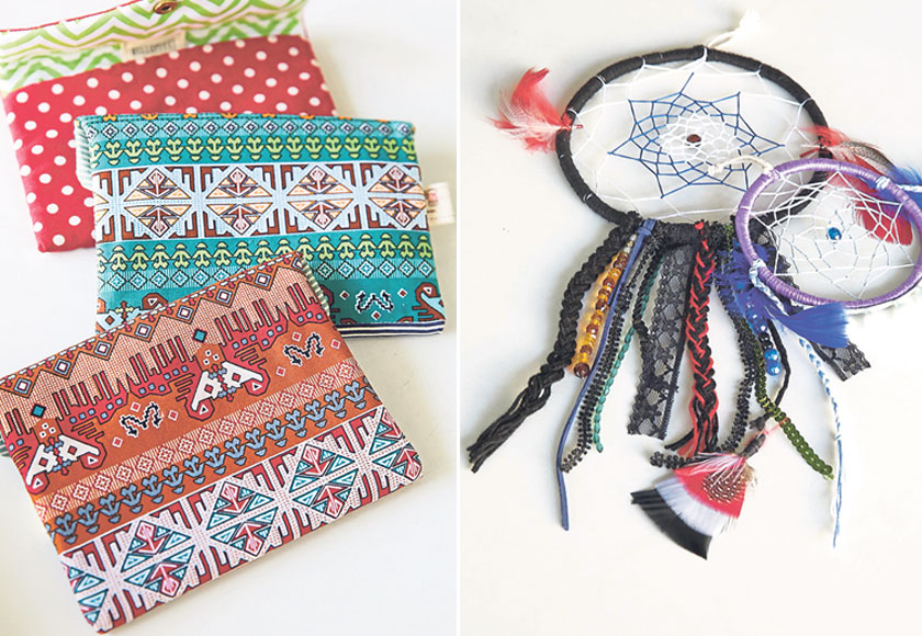 Envelope pouches are Wong's signature pieces (left). Dreamcatchers are now part of the Hello Pfft! collection (right).