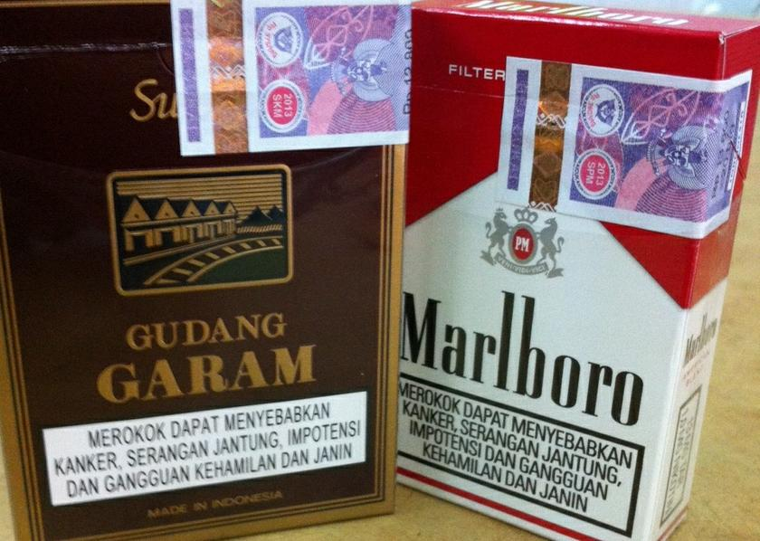 Cigarettes smuggled from Indonesia that have the Indonesian excise tax sticker. — Picture by Boo Su-Lyn