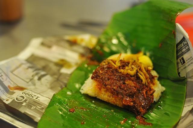 The simple pleasure of a nasi lemak bungkus.