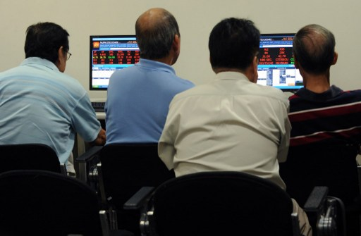 Philippine shares rise as much as 0.7 per cent, on course for a fourth session of gains, helped by real estate and financial stocks August 17, 2017. — AFP pic
