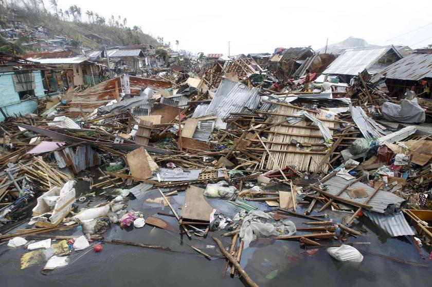 Devastated houses float on sea water after super typhoon Haiyan hit Tacloban city, central Philippines November 11, 2013. — Reuters pic