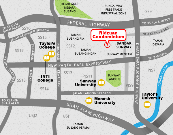 Map showing the location of Ridzuan Condominium, and its proximity to several colleges and universities.