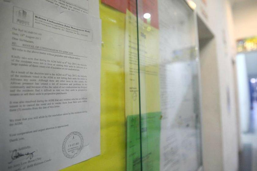 The memo on the move banning the renting of units to 'African' tenants affixed to a notice board at Ridzuan Condominium.