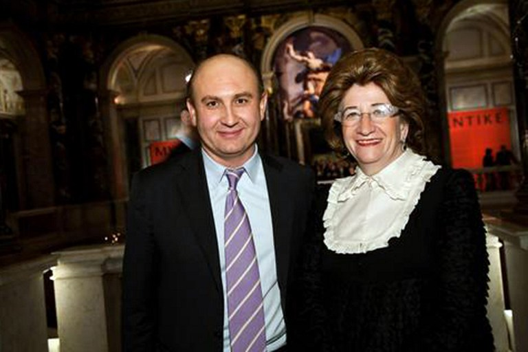 An undated handout photo obtained on December 14, 2010 shows Austrian banker Sonja Kohn (right) posing with an unidentified man during a visit at the Kunsthistorisches Museum in Vienna. — AFP pic