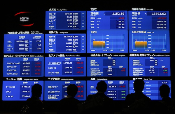 Japan's Nikkei was closed for a holiday, although Nikkei futures traded 0.7 per cent firmer. Futures for the EUROSTOXX 50 rose 0.7 per cent and the FTSE 0.6 per cent.— Reuters pic